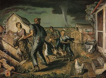 Tornado Over Kansas 1929 - John Steuart Curry reproduction oil painting