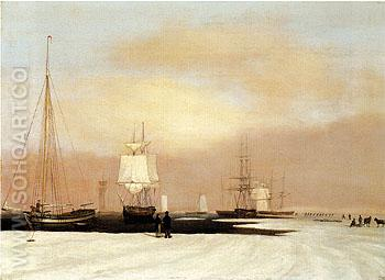 Boston Harbor 1835 - John Blunt reproduction oil painting
