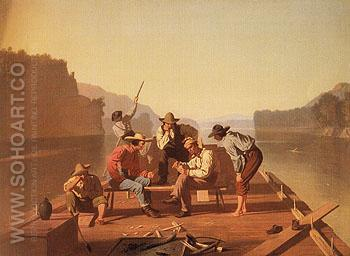 Raftsmen Playing Cards 1847 - George Caleb Bingham reproduction oil painting