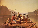 Raftsmen Playing Cards 1847 - George Caleb Bingham