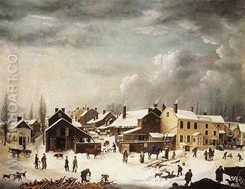 Winter Scene in Brooklyn c1817 - Guy Francis reproduction oil painting