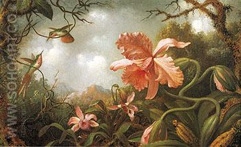 The Hummingbirds and Two Varieties of Orchids c1870 - Martin Johnson Heade reproduction oil painting