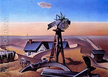 Drought Stricken Area 1934 - Alexandre Hogue reproduction oil painting
