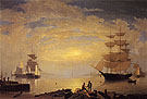 Gloucester Harbor at Sunrise 1850 - Fitz Hugh Lane reproduction oil painting