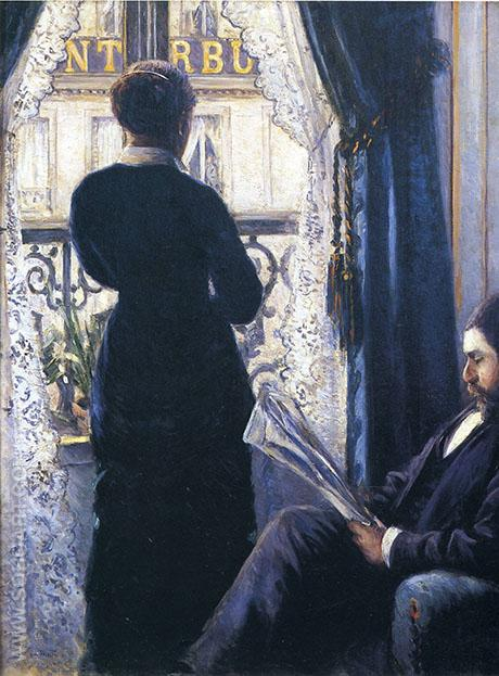 Interior Woman at the Window 1880 - Gustave Caillebotte reproduction oil painting
