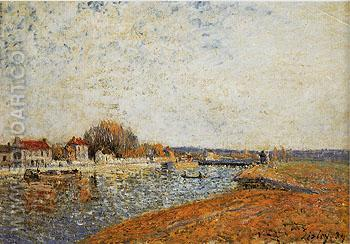 The Lock and Canal of the Loing River at Saint Mammes 1884 - Alfred Sisley reproduction oil painting