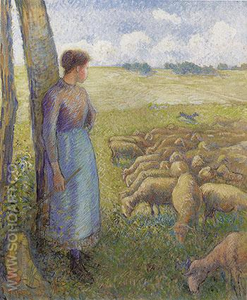 Shepherdess 1887 - Camille Pissarro reproduction oil painting
