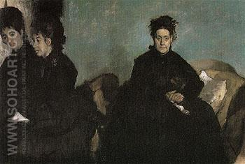 The Duchessa di Montejasi with Her Daughters Elena and Camille 1876 - Edgar Degas reproduction oil painting