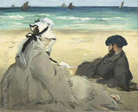 On the Beach 1873 - Edouard Manet reproduction oil painting