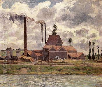 Factory near Pontoise 1873 - Camille Pissarro reproduction oil painting