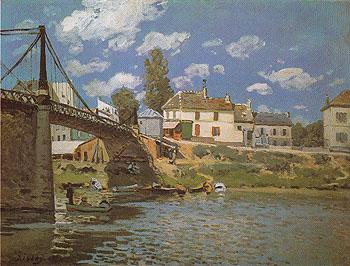 The Bridge at Villeneuve la Garenne 1872 - Alfred Sisley reproduction oil painting