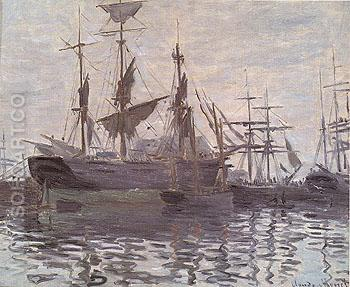 Ships in a Harbor c1873 - Claude Monet reproduction oil painting