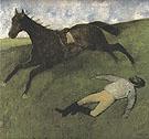 Fallen Jockey c1896 - Edgar Degas reproduction oil painting
