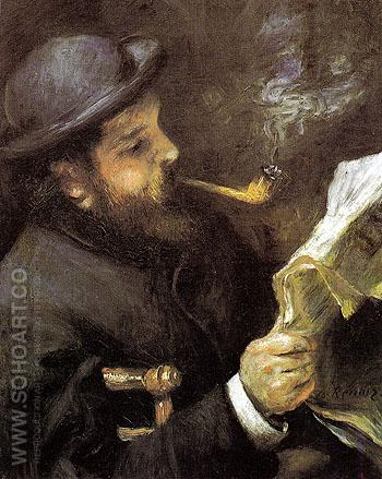 Monet Reading 1872 - Pierre Auguste Renoir reproduction oil painting
