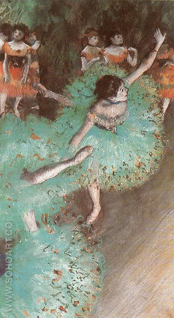 Ballerina in Green c1880 - Edgar Degas reproduction oil painting
