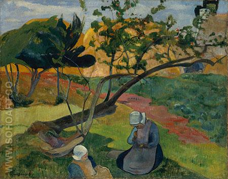 Landscape with Two Breton Women 1889 - Paul Gauguin reproduction oil painting