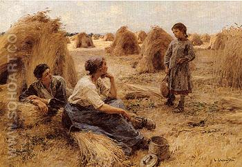 Wheatfield Noonday Rest 1890 - Leon Lhermitte reproduction oil painting