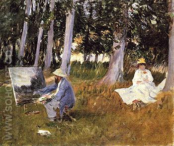 Claude Monet Painting by the Edge of a Wood 1887 - John Singer Sargent reproduction oil painting