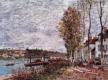 Saint Mammes Gray Weather c1880 - Alfred Sisley reproduction oil painting