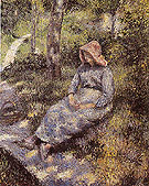 Peasant Seated at Dusk 1880 - Camille Pissarro reproduction oil painting