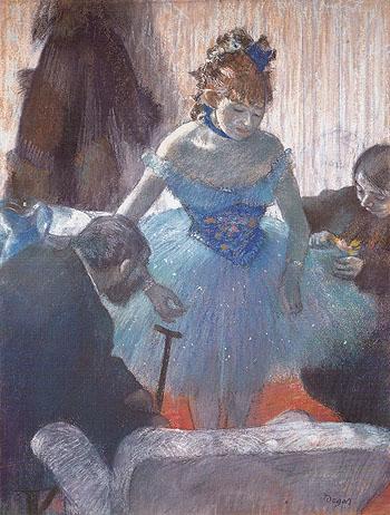 Ballerina Changing c1880 - Edgar Degas reproduction oil painting