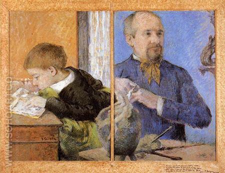 Portrait of the Sculptor Aube with His Son 1882 - Paul Gauguin reproduction oil painting
