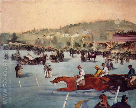 Racecourse in the Bois de Boulogne 1872 - Edouard Manet reproduction oil painting