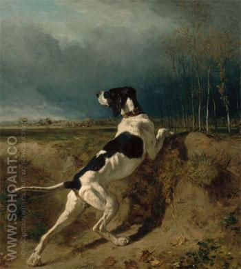 Hound Pointing 1860 - Constant Troyon reproduction oil painting
