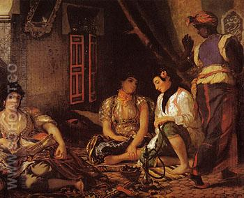 Wolmen of Algiers in their Apartment 1834 - F.V.E. Delcroix reproduction oil painting