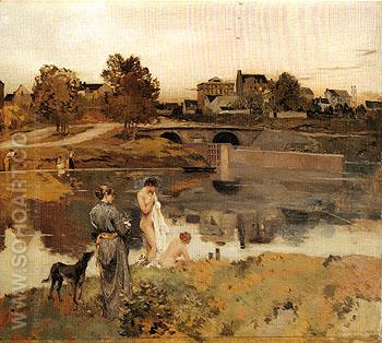 Riverbank with Bathers 1882 - Jean Charles Cazin reproduction oil painting