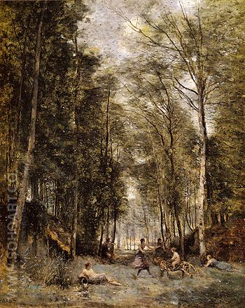 Bacchanal at the Spring Souvenir of Marly Le Roi 1876 - Jean-baptiste Corot reproduction oil painting