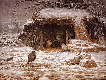 Farmyard in Winter 1868 - Jean Francois Millet reproduction oil painting