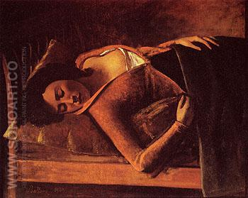Sleeping Girl 1943 - Balthus reproduction oil painting