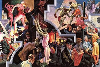City Activities with Subway 1930 - Thomas Hart Benton reproduction oil painting