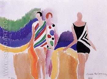 Girls in Swimming Costumes 1928 - Sonia Delaunay reproduction oil painting