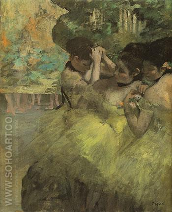 Yellow Dancers In the Wings c1874 - Edgar Degas reproduction oil painting