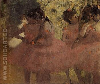 Dancers in Red Skirts c1884 - Edgar Degas reproduction oil painting