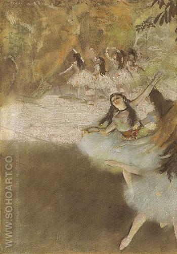 On the Stage c1876 - Edgar Degas reproduction oil painting