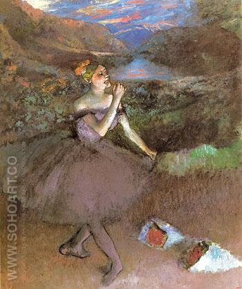 Dancer with Bouquets c1890 - Edgar Degas reproduction oil painting