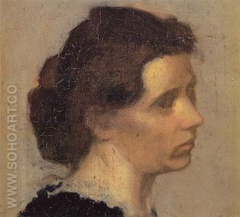 Head of a Woman c1875 - Edgar Degas reproduction oil painting