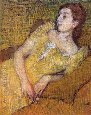 Seated Woman in a Yellow Dress c1890 - Edgar Degas reproduction oil painting