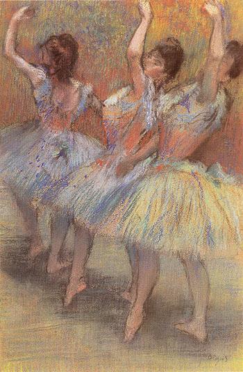 Three Dancers c1888 - Edgar Degas reproduction oil painting