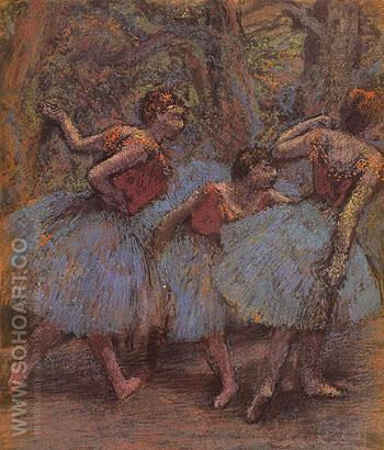 Three Dancers c1900 - Edgar Degas reproduction oil painting