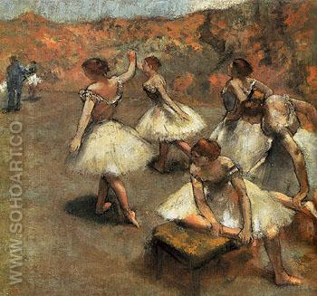 Dancers on the Stage c1889 - Edgar Degas reproduction oil painting