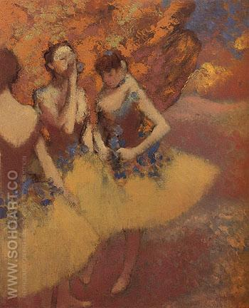 Three Dancers in Yellow Skirts c1899 - Edgar Degas reproduction oil painting