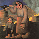 Peasant  Woman with Buckets and a Child 1912 - Kasimir Malevich reproduction oil painting