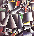 Woman with Water Pails Dynamic Arrangement c1912 - Kasimir Malevich reproduction oil painting
