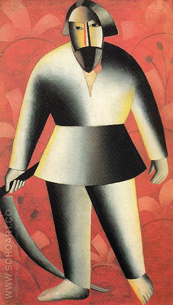 Reaper against a Red Background c1912 - Kasimir Malevich reproduction oil painting