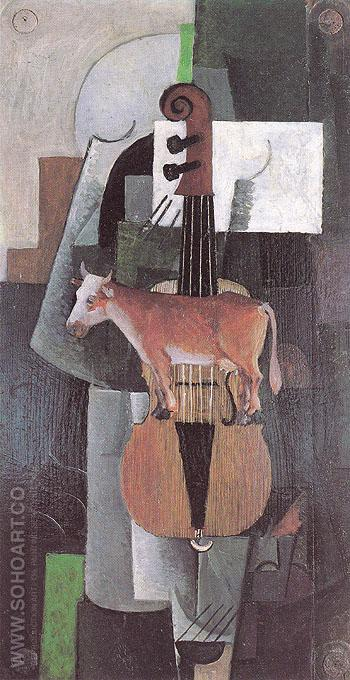 Cow and Violin 1913 - Kasimir Malevich reproduction oil painting