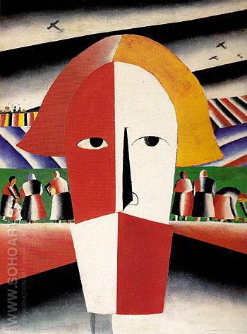 Head of a Peasant c1928 - Kasimir Malevich reproduction oil painting